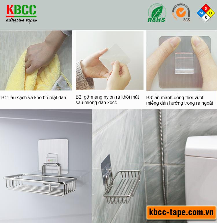Kệ Inox Xà Bông Dán Tường Nhà Tắm KBCC-K201 Chống Nước